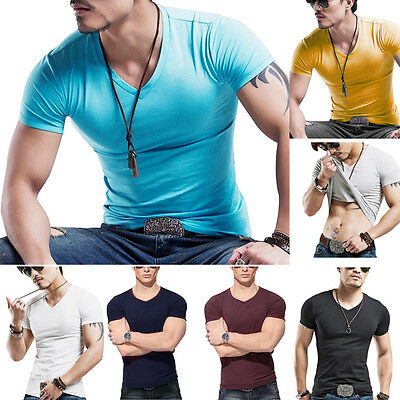 Fashion Men Boy Summer Casual Cotton V Neck Sports Short Sleeve T Shirt Fit Cool