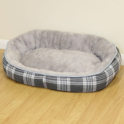 Large Grey Check Super Soft Fur Round Dog/Puppy/Cat Pet Bed Cushion/Fleece L