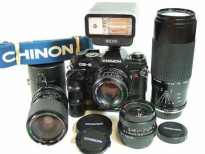 Complete CHINON CE-5 35mm film SLR OUTFIT 4 lenses, flash, motor drive, case etc