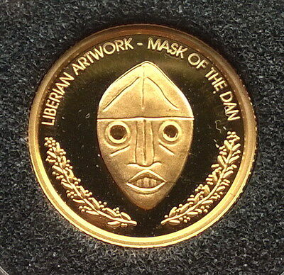 Liberia 2000 Mask of The Dun 10 Dollars Gold Coin,Proof