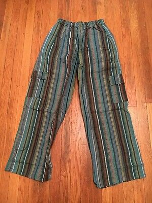 Unisex Cotton Striped Pants Hippie Boho Surfer with Cargo Pockets