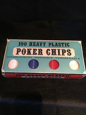 Vintage Crisloid 100 Heavy Plastic Poker Chips - Red White Blue - Original Box