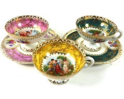 Two Vienna Style Porcelain Demitassse Cup & Saucers + One Cup Schlegelmilch