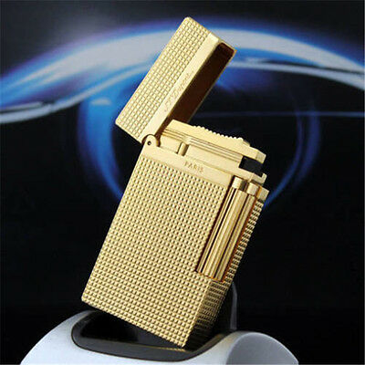 Memorial Bright Sound S.T Dupont Lighter Collectible Gold Plaid Engraving Flame