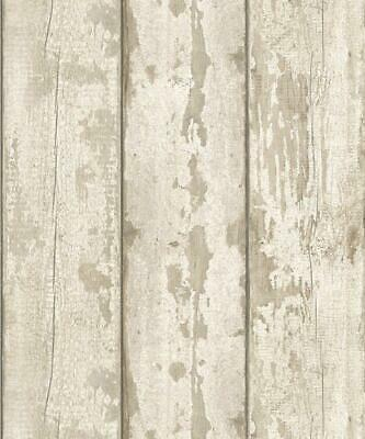 Arthouse White Washed Wood Wallpaper 694700 Wood Panel Cladding Timber Beige