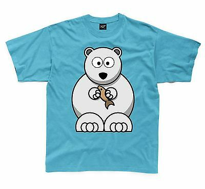 """NEW Funny Graphic Tee  /""""POLAR BEAR IN THE CITY/"""" Youth Sizes S-M-L-XL Shirt"""