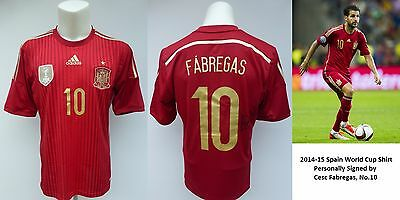 2014-15 Spain World Cup Shirt Signed by Cesc Fabregas No.10 - Chelsea (10159)