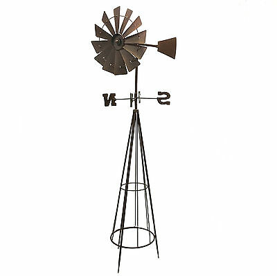 Windmill Weather Vane Garden Sculpture Metal Iron Ornament Rustic 146cm