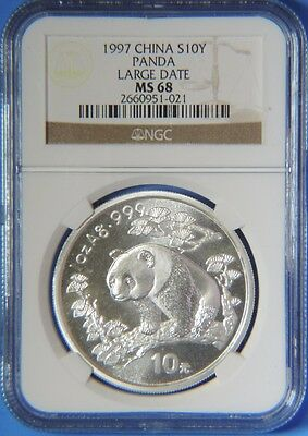 1997 Large Date China People's Republic Silver Panda 10 Yuan Coin 1oz NGC MS68