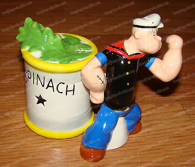 POPEYE & SPINACH Salt & Pepper Shakers (by Westland, 15126) Ceramic, Magnetic