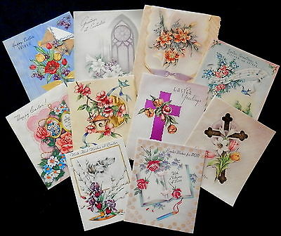 Assorted 1930's and 40's EASTER Cards w/ CROSSES - FLOWERS - DOGS Check Them Out