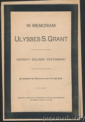 Program Memorial Services For Ulysses S. Grant San Francisco 1885