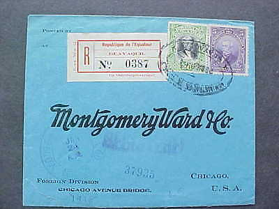 Ecuador: Guayaquil 1918 Registered Cover to Montgomery Ward in USA