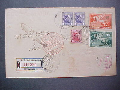Uruguay: 1932 Condor Zeppelin Airmail Registered Cover to Germany