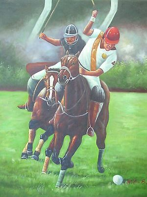 24X36 inch Hand-painted Oil Painting Poloists Playing Polo