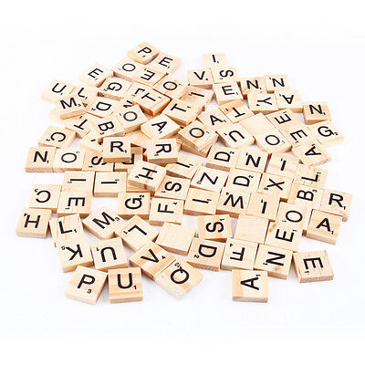 100 x WOOD SCRABBLE TILES WOODEN BLACK NUMBERS LETTERS BOARD CRAFTS GENUINE UK