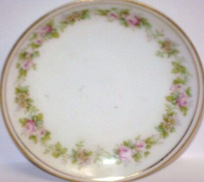 Vintage Austrian China Butter Pat Gilt Edge Design & Tiny Rose Buds