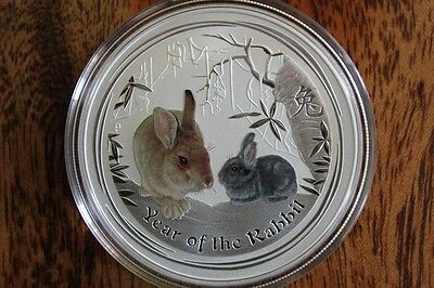 2011 Australia Lunar Ii Rabbit 1 Oz Colored Colorized 999 Silver From Mint Roll