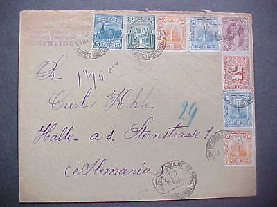 Uruguay: Montevideo 1900 Cover to Germany, 8 Stamps