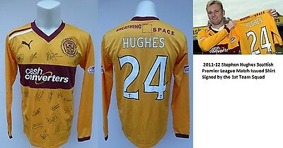 2011-12 Stephen Hughes Match Issued and Squad Signed Motherwell Shirt (10169)
