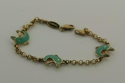 14K Yellow Gold Link Bracelet ENAMELED GREEN Dolphins St Patricks Day Gift Idea