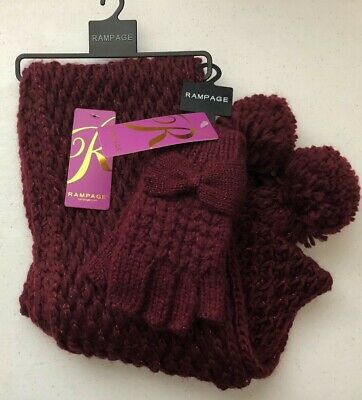 $64 (NWT) Rampage Women's Burgundy Metallic Scarf & Fingerless Gloves One Size
