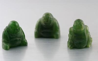 Dark Green Jade Jadeite Carved Buddha Luck Charm Wholesale 3 pcs.Lot