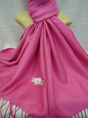 Wholesale 12Pcs Pashmina Cashmere Plain Color Wrap Scarf Stole Hotpink
