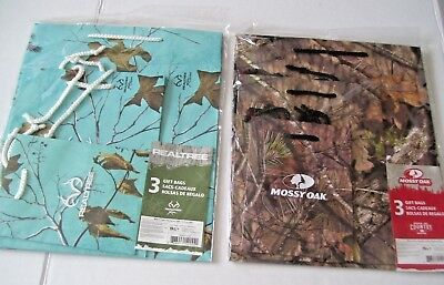 Lot of 2 Camo Theme Gift Bag Sets (3) REALTREE & (3) MOSSY OAK