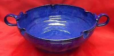 J. B. Cole, N. C. Art Pottery, Cobalt Scalloped Double Handle Bowl
