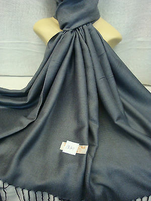 Wholesale 12Pcs Pashmina Cashmere Plain Color Wrap Scarf Stole Gray