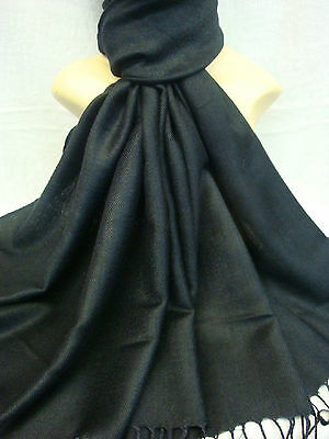 Wholesale 12Pcs Pashmina Cashmere Plain Color Wrap Scarf Stole Black