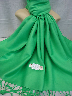 Wholesale 12Pcs Pashmina Cashmere Plain Color Wrap Scarf Stole Green