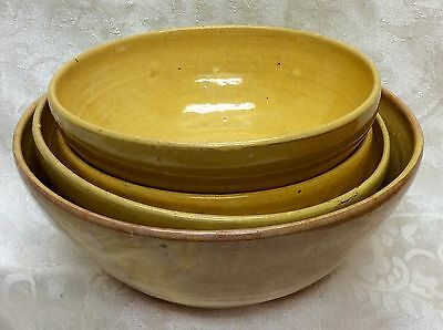 4- A. R. Cole, N. C. Art Pottery, Buff Yellow, Green Oxidation Bowls
