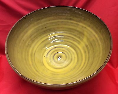 J. B. Cole, N. C. Art Pottery, Avocado Green, Large Centerpiece Bowl