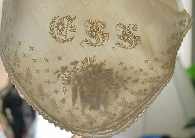 Antique Early Hand Embroidered Linen Hankie W/initials