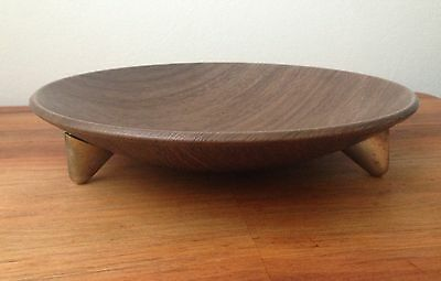 Vintage Mid Century Faux Teak 3 Legged Bowl With Original Label