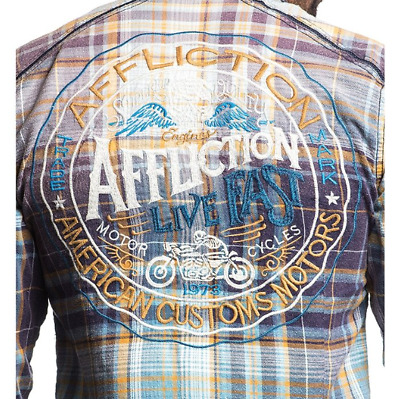 AFFLICTION Mens LS Button Down Shirt AMERICAN REBEL Embroidered PLAID Buckle $88