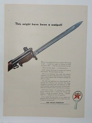 Original Print Ad 1943 TEXACO WWII This Might have been a Scalpel WWII