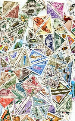 100 Different Triangle Stamps - No Duplicates - No Damaged Or Hinged!
