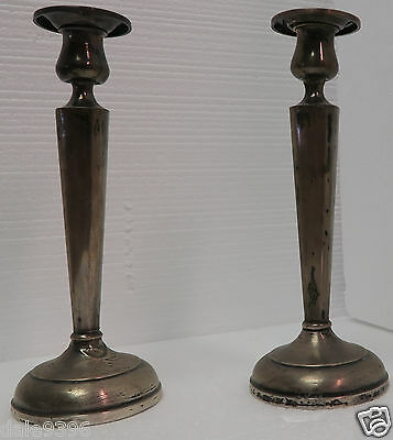 Vintage MHF M Fred Hirsch Sterling Silver Weighted Candle Stick Holders(Pair) 8""