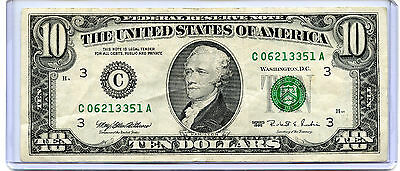 1995 Series $10 Bill American Currency Ten Dollar Federal Reserve Note USA FRN A