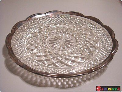 "Vintage 11"" Diameter Scalloped Silver Rim Cut Glass 4 Section Divided Dish NICE!"