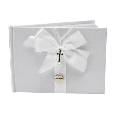 ** White Christening Guest Book With Silver Cross And Heart Charm ** Cg744