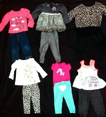 African Safari Lot of Baby Girl Outfits ShirtsTops and Bottoms Size 12 Months