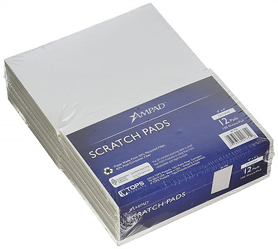Ampad Scratch Pad Notebook, Unruled, 4x6 Inches, White, 100 Sheets per Pad - 12