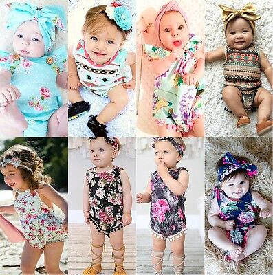 USA Floral Infant Baby Girls Bodysuit Romper Sunsuit Outfit Summer Clothes