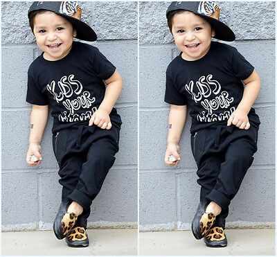 2pcs Toddler Kids Baby Boys Cotton T-shirt Tops+Pants Outfits Clothes US Stock