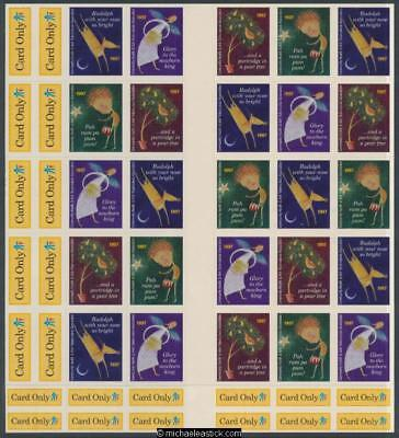 1997 Full sheet 35 Christmas seals & 38 card stickers