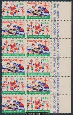 1960 Block of 12 Christmas seals, Christmas Greetings, CTBL, Fight TB